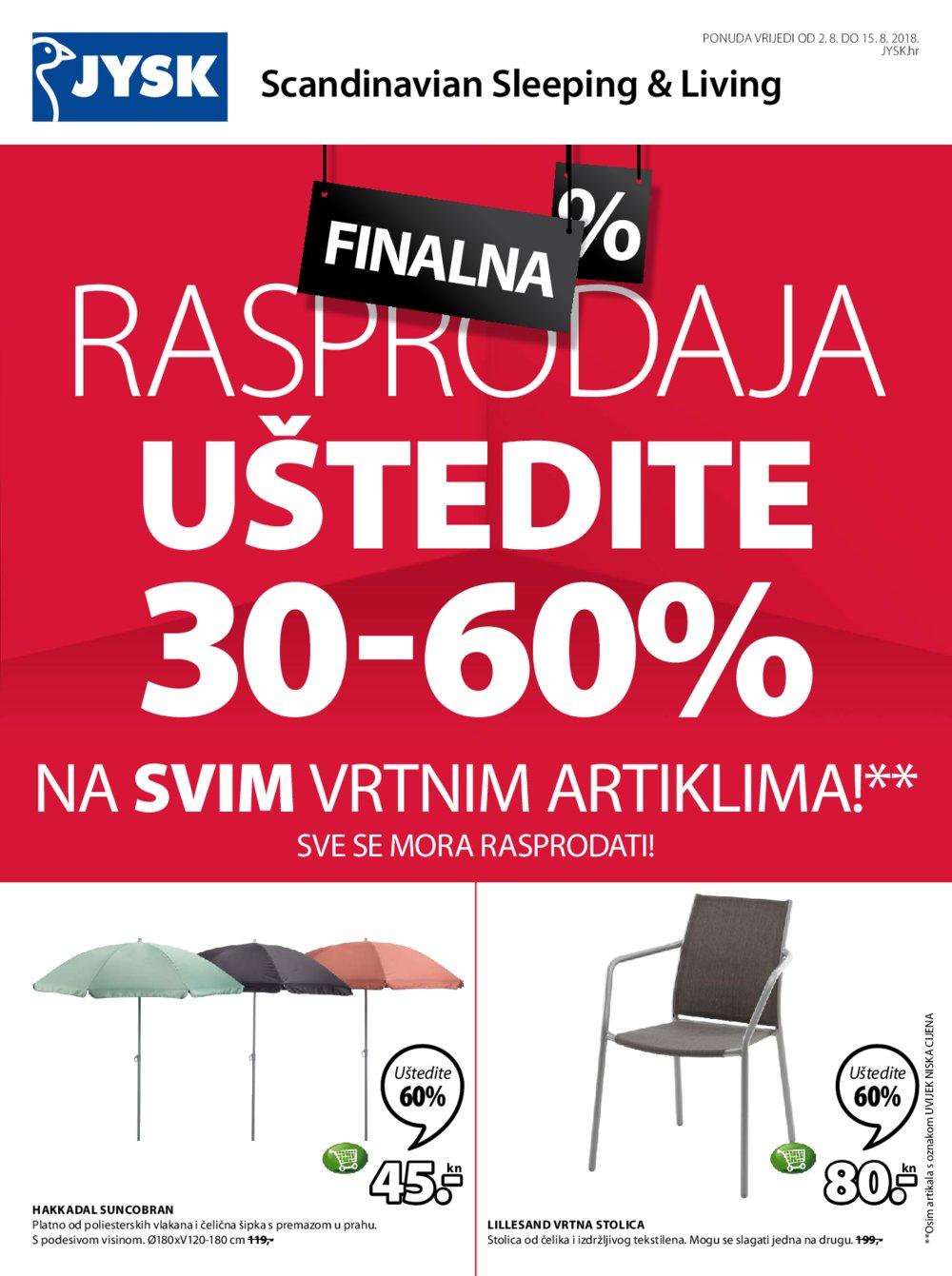 JYSK katalog Akcija 02.08.-15.08.2018.