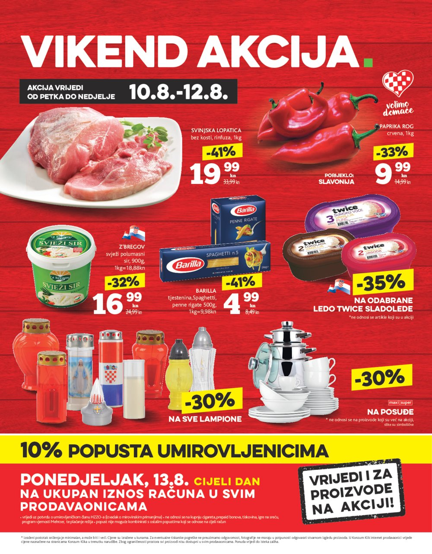 Konzum letak Vikend akcija 10.08.-12.08.2018.