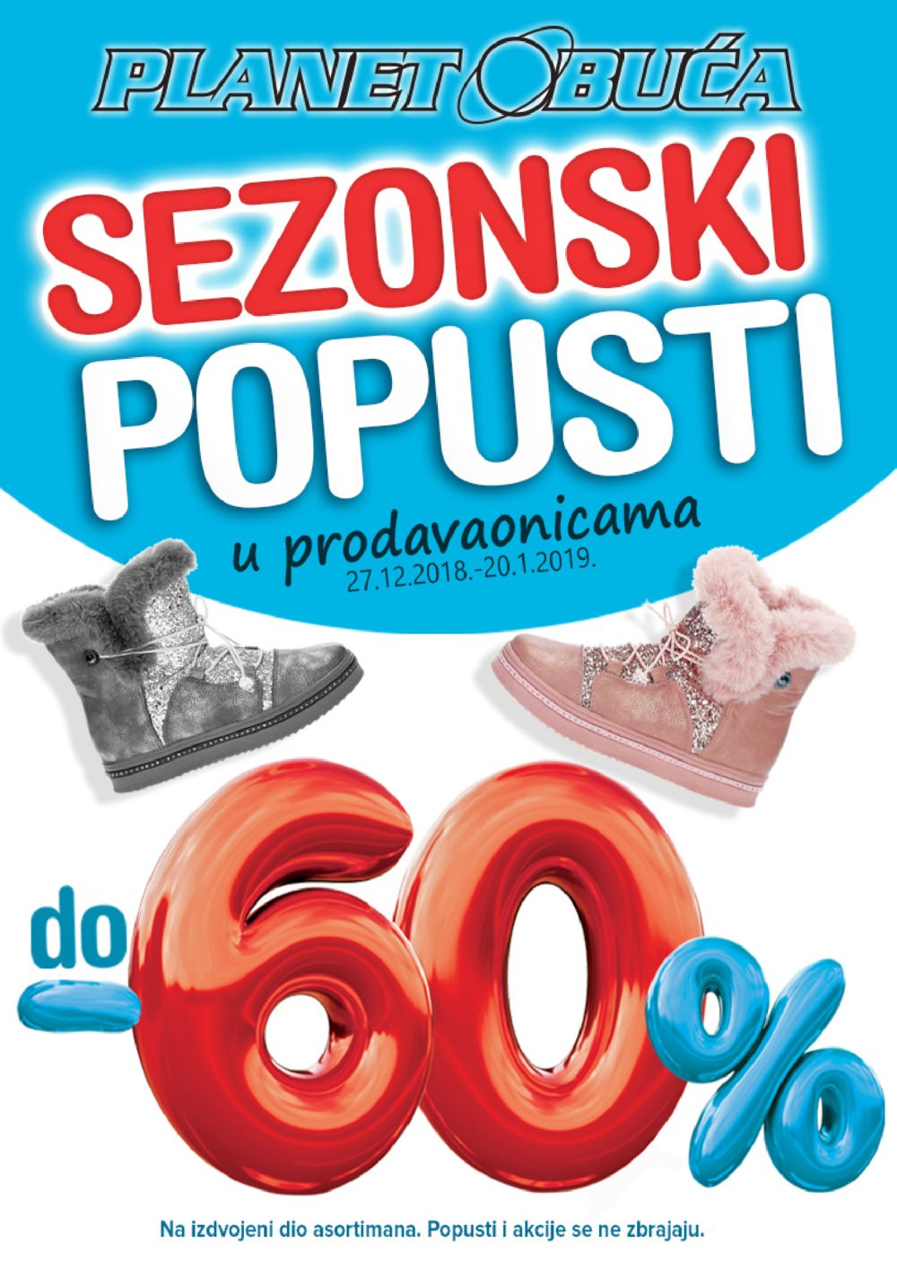 Planet Obuće letak Sezonski popusti 27.12.-20.1.2019.