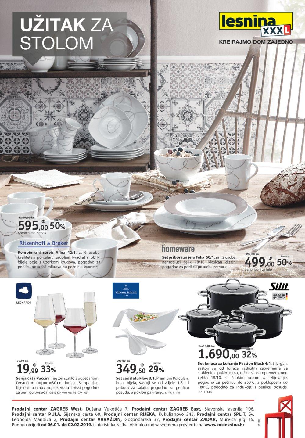 Lesnina letak Užitak za stolom 06.01.-02.02.2019.