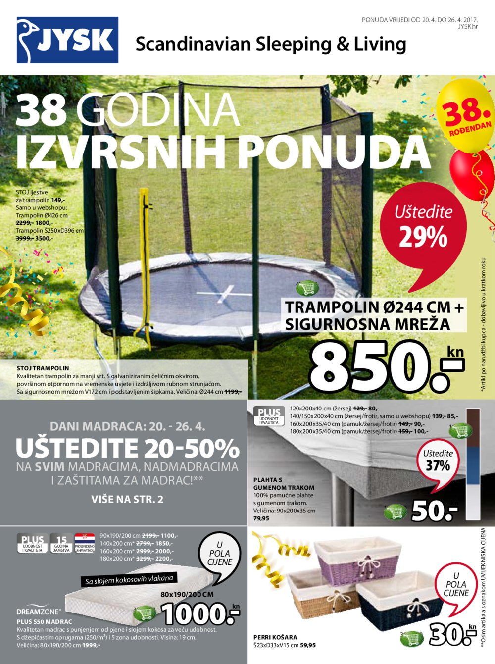 JYSK katalog 38 godina izvrsnih ponuda 20.4-26.4.2017.