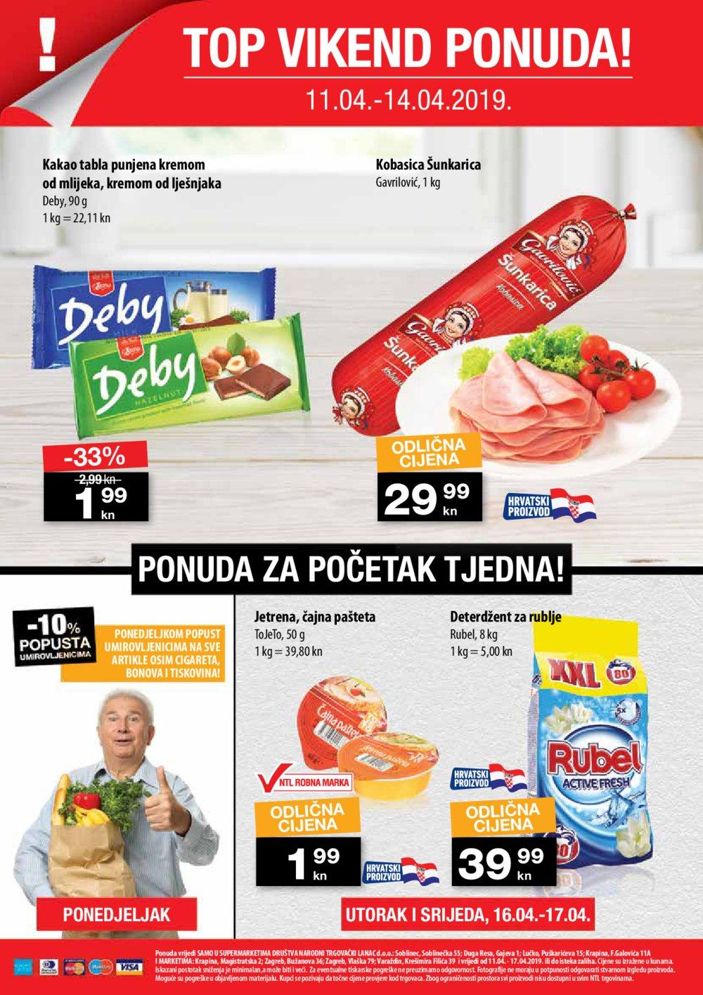 NTL katalog Akcija 11.04.-17.04.2019. Soblinec Duga Resa Lučko Krapina Zagreb (Bužanova, Vlaška) Varaždin (Filićeva)