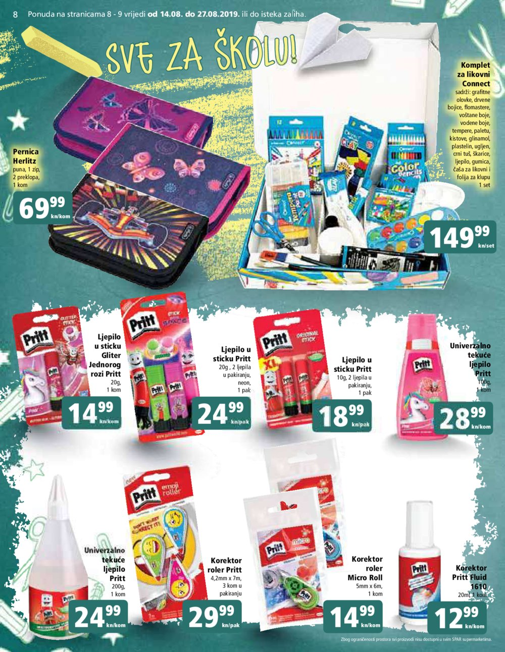 Spar katalog Sve za školu 14.08.-27.08.2019.