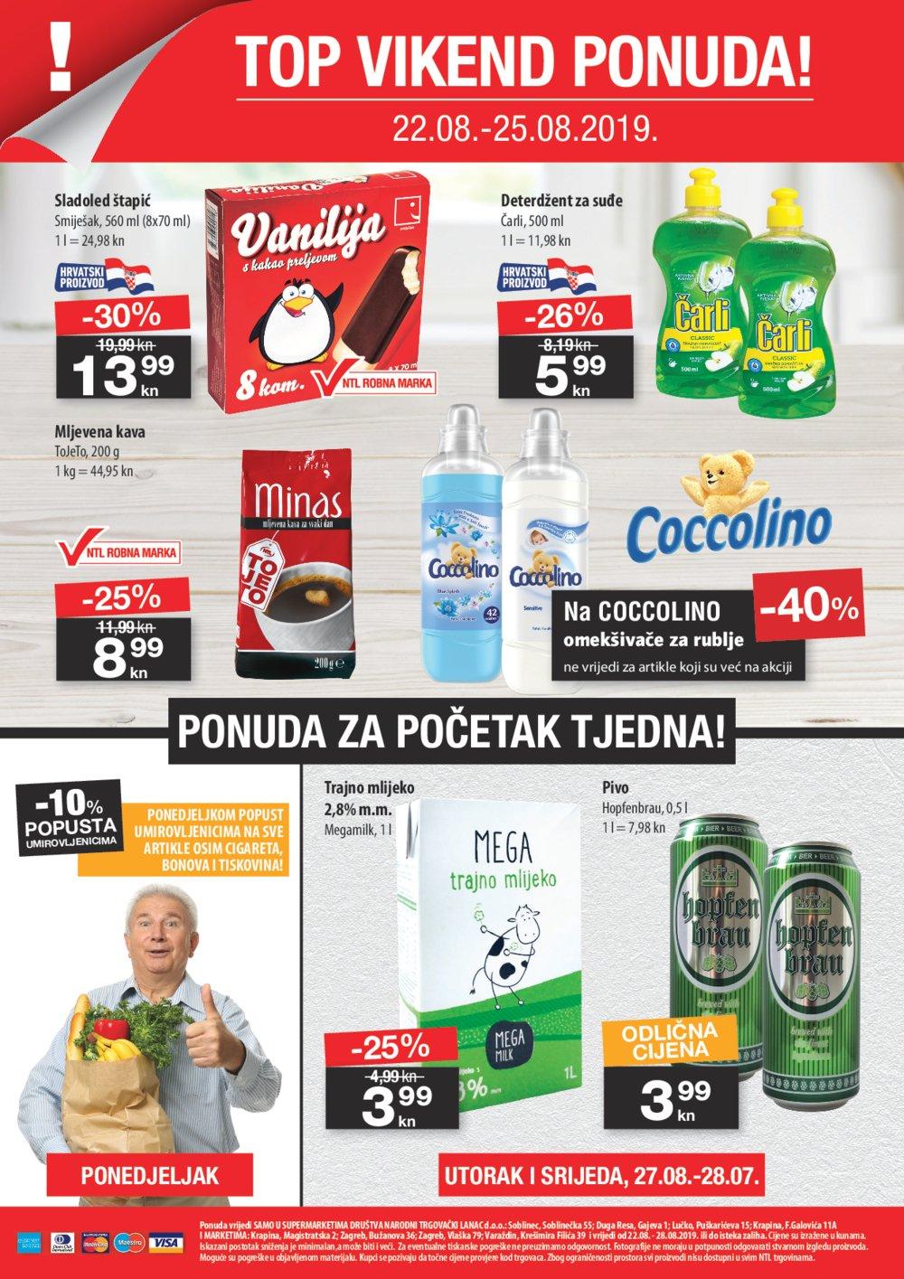NTL katalog Akcija 22.08.2019.-28.08.2019. Soblinec, Duga Resa, Lučko, Krapina F. Galovića, Krapina Magistratska, Zagreb Bužanova, Zagreb Vlaška, Varaždin