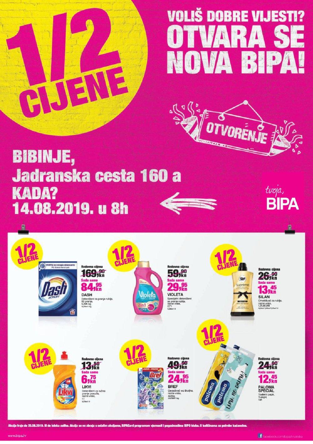Bipa katalog Otvorenje Bibinje 14.08.-.25.08.2019.