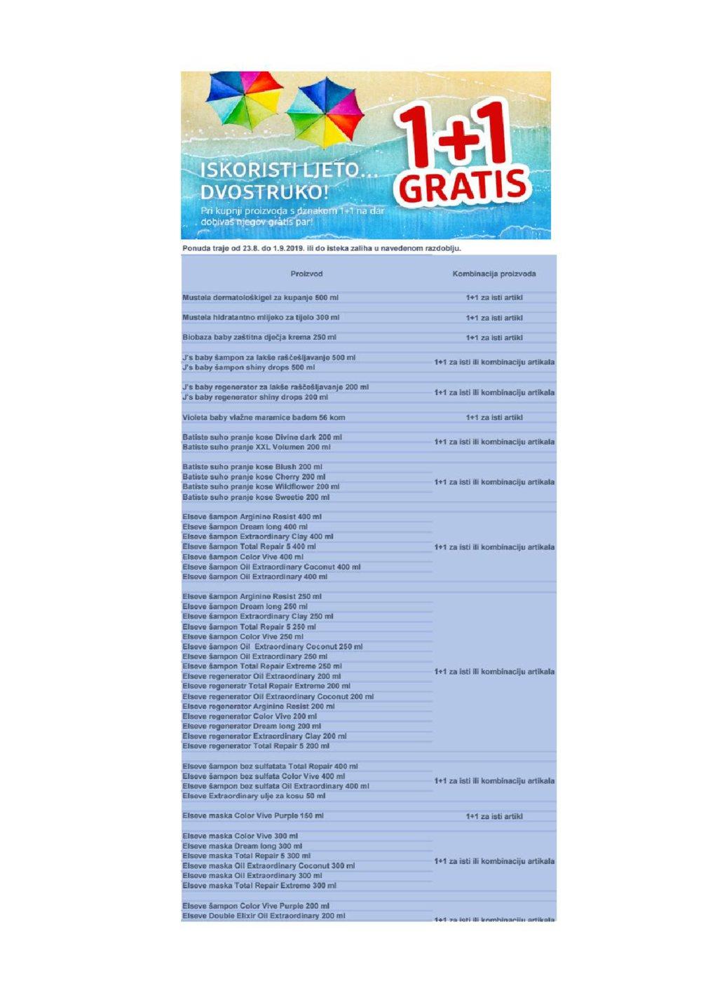 DM katalog 1+1 Gratis 23.08.-01.09.2019.