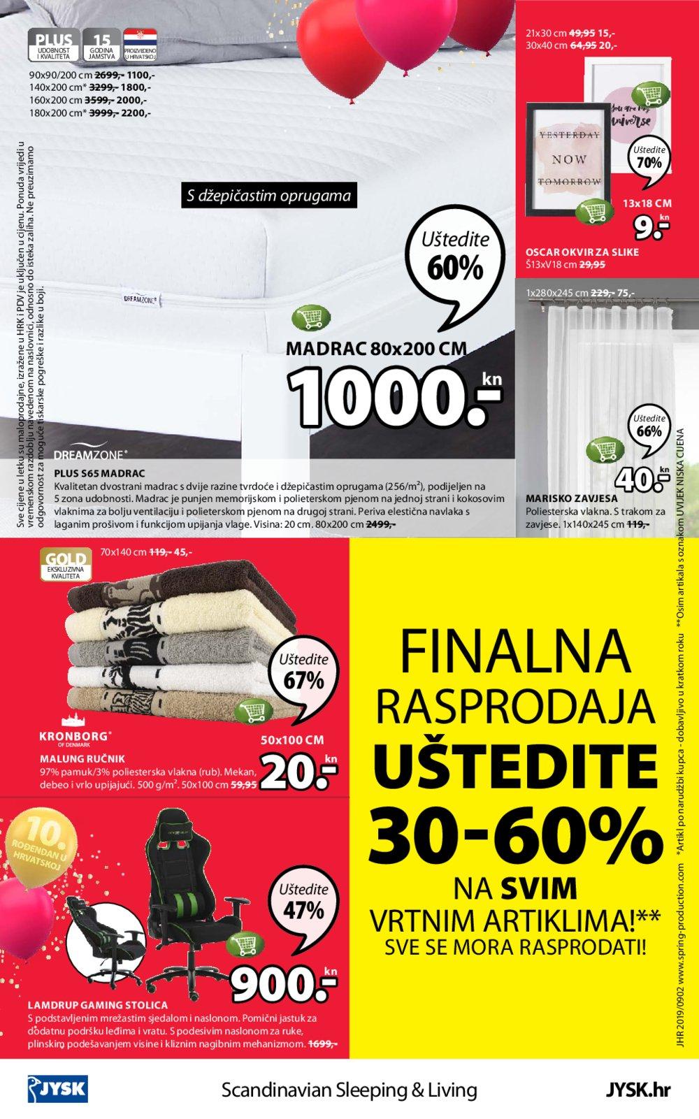 Jysk katalog 10 godina u Hrvatskoj 05.09.-18.09.2019.