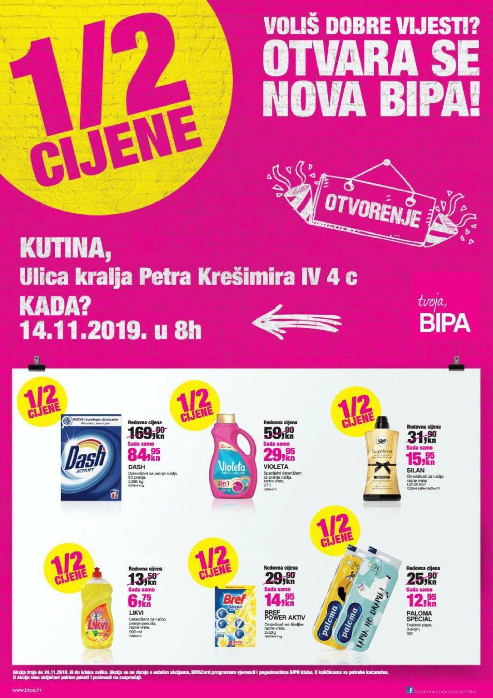 Bipa katalog Akcija otvorenja Kutina 14.11.-24.11.2019.