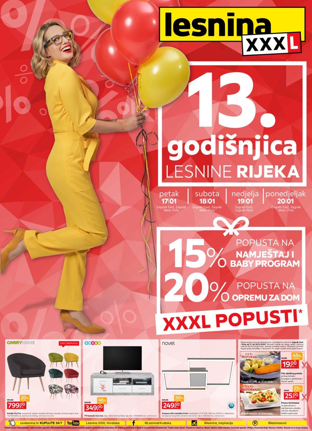 Lesnina katalog 13.godišnjica Zg,Pu,Zd,St,Vž,Ča 17.01.-20.01.-2020.