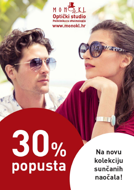 Monokl letak 30% popusta na novu kolekciju sunčanih naočala od 28.11.2017. do 31.12.2017.