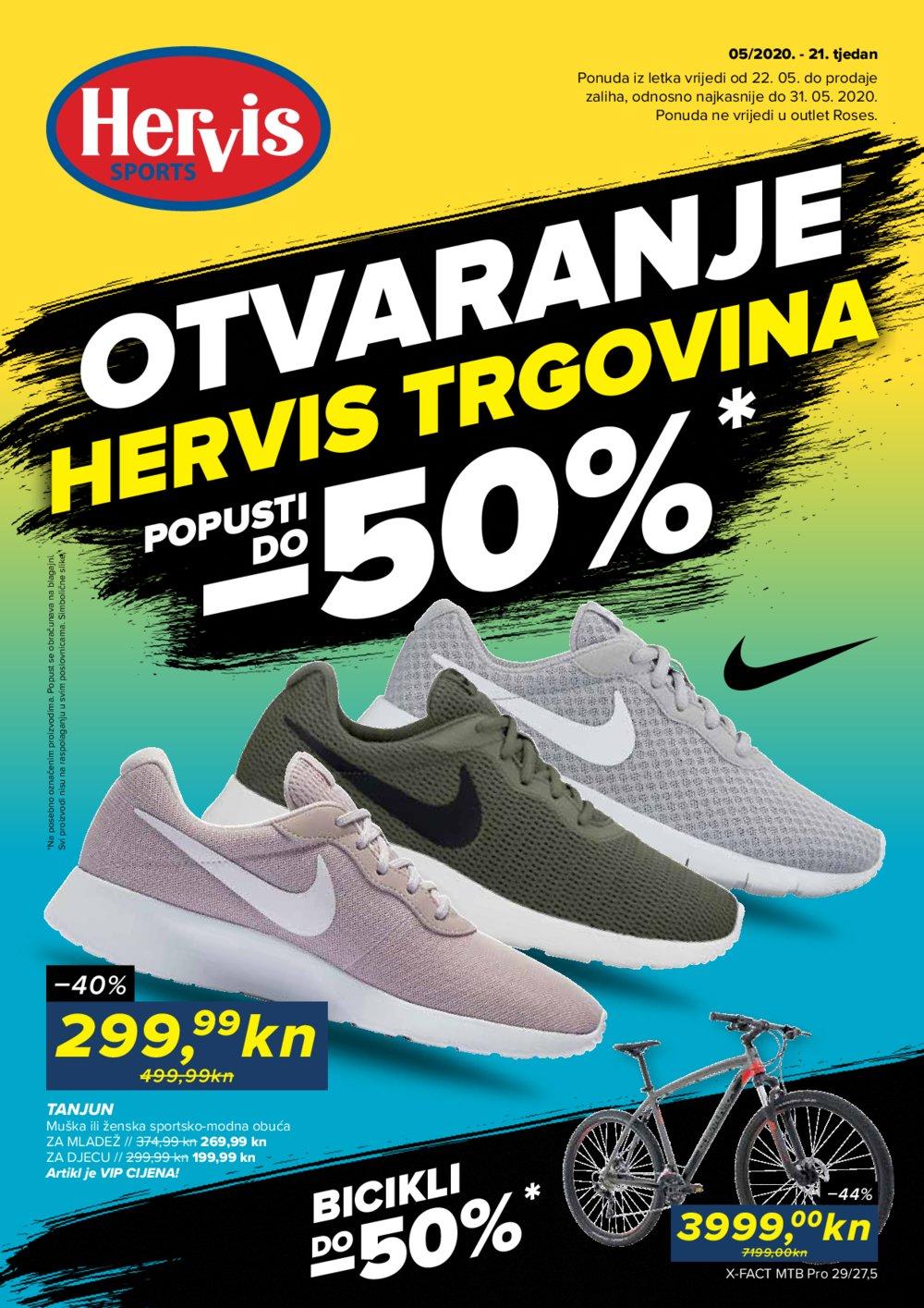 Hervis katalog Otvaranje trgovina 22.05.-31.05.2020.