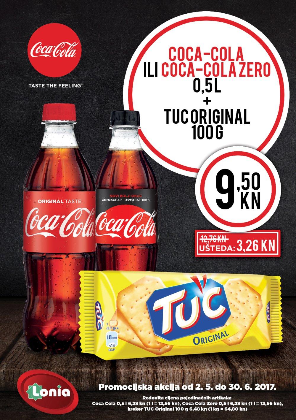 Lonia letak Promocijska akcija Coca-cola + tuc od 2.5. do 30.6.2017.