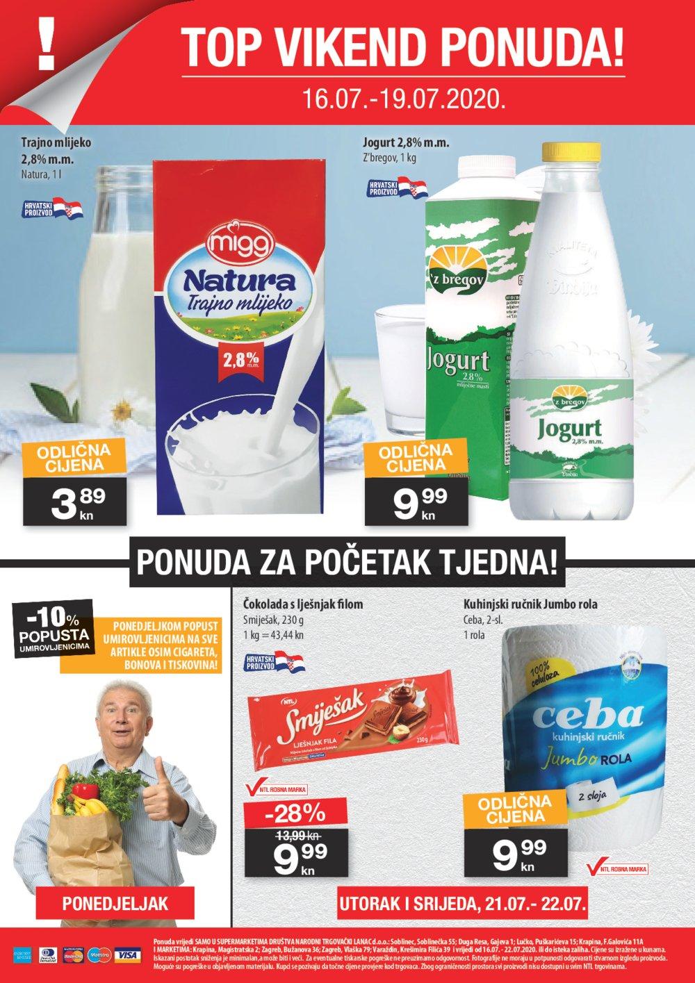 NTL katalog Ljetno sniženje i osvježenje 16.07.-22.07.2020. Soblinec, Duga Resa, Lučko, Krapina, Zagreb, Bužanova, Vlaška, Varaždin