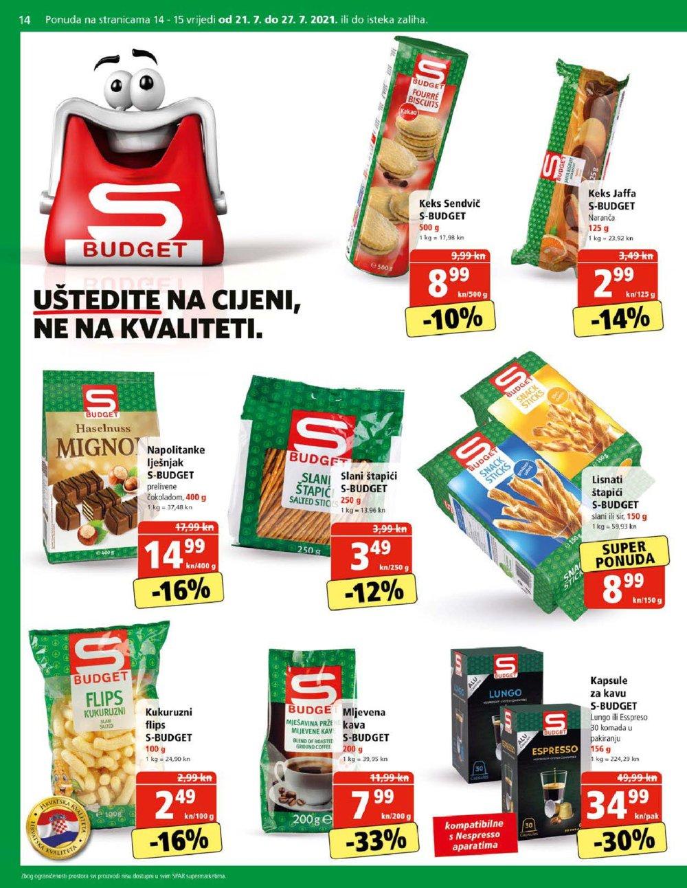 Spar katalog Akcija 21.07.-03.08.2021. Zelina, Pula, Zagreb