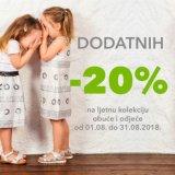 -20% na već sniženu ljetnu kolekciju dječjih sandala, balerinki i plaža programa