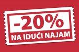 20% popusta na svaki idući najam